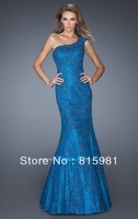 2014 Blue Appliques One-Shoulder Lace Mermaid Floor-Length Evening Gown Formal Dress XS S M L XL 2XL 3XL 4XL