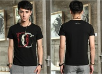2014 fashion leisure printed round collar men men t-shirts with short sleeves