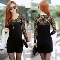 Lace Chiffon Shirt Women Hollow Out Shirts Brand Dress O-Neck Blouse Lady Long Style All-match Blouses 2014