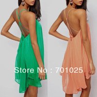 Fashion sexy spaghetti strap back metal buckle cross cutout sleeveless solid color chiffon one-piece dress l78
