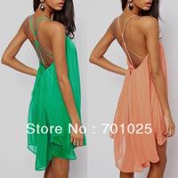 Fashion sexy spaghetti strap back metal buckle cross cutout sleeveless solid color chiffon one-piece dress l78