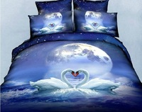 New Beautiful 100% Cotton 4pc Doona Duvet QUILT Cover Set bedding sets Full Queen King 4pcs animal swan tiger leopard lion os15
