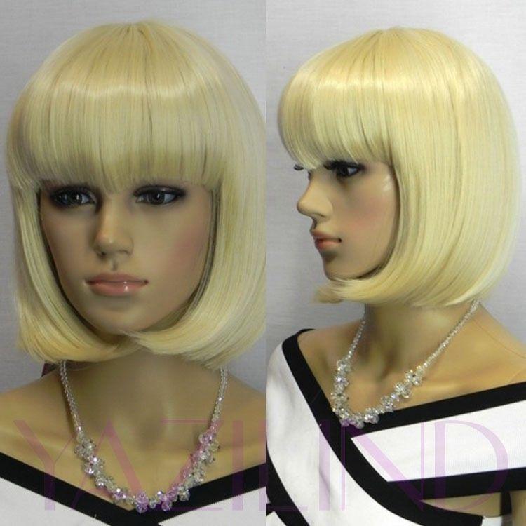 Короткая шелковистая прямая боб светлый блондин полный взрыва синтетический волосы полный парик косплей