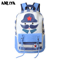 Cartoon stripe canvas pentastar decoration school bag