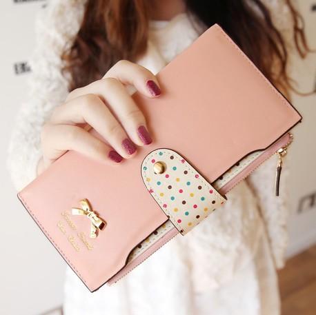 New 2014 Women Wallets Color Block Dot Bow Women's Long Design Female Magic Wallet Womens Designer Wallets Clutch Purses A005(China (Mainland))