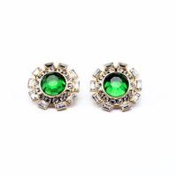 Flower shape lovely green created crystal diamonds rhinestone stud earring