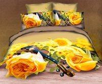 New Beautiful 100% Cotton 4pc Doona Duvet QUILT Cover Set bedding sets Full Queen King 4pcs nice flower yellow rose op-75