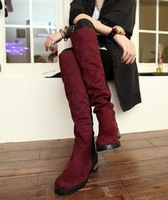 2013050 nubuck cowhide high-leg knee-length boots flat boots