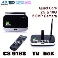 CS918S Quad Core TV Box Android 4.2 XBMC 2GB RAM 16GB ROM Camera 5.0MP Bluetooth TV Stick + Remote Control Free Shipping