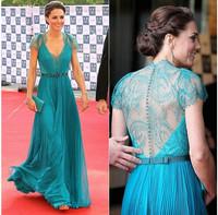 elegant high quality blue V neck floor length chiffon pleated customized women formal evening dress JO010 celebrity dress china
