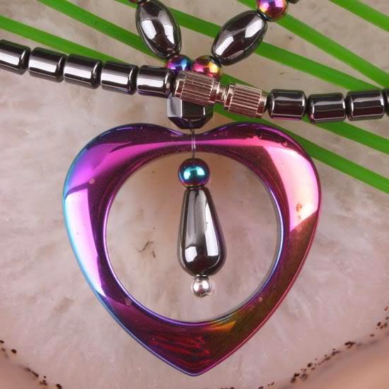 "Multi-Colored Hematite Heart Bead Pendant Necklace 18""(China (Mainland))"