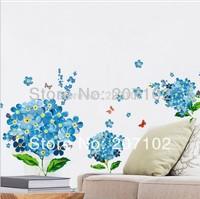 50*70cm Blue Flower Butterfly Removable Wall Sticker Decal Art DIY Home Decor Wall Vinyl XY-8080