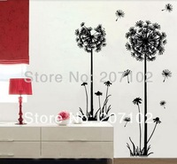 Wholesale Free Shipping Fly Dandelion With Black Color Removable DIY home Decoration 3D Wall Sticker 2147