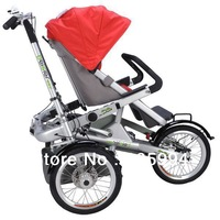 Mg Alloy child and mom stroller bike multi-function tricycle with baby seat riding & barrow MYC-02A Free shipping