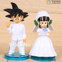 New 2014 hot toys Wedding Dolls pvc action figure japanese anime Dragon Ball Gokou Chi-Chi Marriaged figurines 2 pcs/set gifts