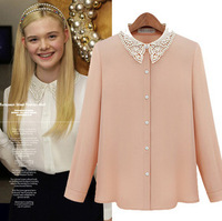 2014 spring summer long-sleeve elegant embroidered beaded lace chiffon blosues shirts women new fashion casual blouse pink white