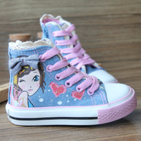 New 2014 Girls Shoes Child Canvas High-Cut Skateboarding Sneakers Blue Size 7.5-11