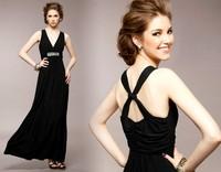 2014 new arrive women's deep V-neck x backless sparkling diamond formal dinner dress full dress formal dress evening dress 3003