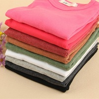 5 PCS / LOT 2015 New Children's Clothing Boys T shirt Kids Tees Wholesale Clothing lots Autumn Tops Girls Tees basic Solid Color