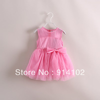 Free shipping 2014 Summer Baby Kids Clothing Girls Lace Vest Dresses Flower girl Princess Dresses Gauze sleeveless dress 3color