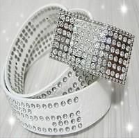 Fashion Rhinestones Belts For Women Cummerbunds Strap cintos femininos White Free Shipping WB01