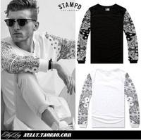 Fashion 2014 los angeles brand male sport flower cashew long sleeve tshirt shipping street hip-hop