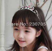 HOT SELLING Cute Kids Rhinestone Heart Headband Crown Tiara Baby Girls Princess Crown Customized, 1pc/lot Free Shipping