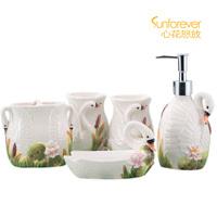 Bathroom everydays ceramic bathroom sanitary ware five pieces set of bathroom toiletries