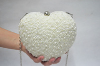 Free shipping 2014 women's handbag love heart shaped pearl chain bag one shoulder bridal evening bag  clutch bag