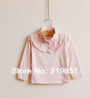 Free shipping 90cm-130cm height girls' cotton Ruffle with buttons for fashion T- shirt in autumn and winter