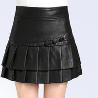 2014 New Arrival Fashion Brand Design Elegant Falbala Skirt Women Leather Skirts Fashion Female Pleated Skirt For Four Season