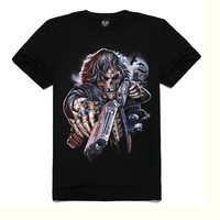 FreeShipping!Fashion Brand Male Cotton T-Shirt,Black Color Casual Slim Fit Short Sleeve skull Fashion Printed 3D shirt.