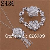 JS436 factory price Wholesale, hot  charm 925 sterling silver jewellry set, Rose Earrings+ Bangle +Necklace Jewelry Set