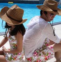 Wholesale 2014 Fashionable Men Summer Straw Hats Women Sun Large Beach Caps Mens Cowboy Straw Cap Womens Spring Wide Brimmed Hat