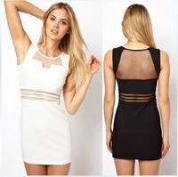 2014 New arrival good quality European style sexy dress women's summer  sleeveless patckwork dress free shipping