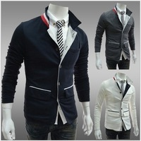 Hot Sell NEW 2014 Men's Fashion Slim Fit Up Collar Designed Coats Jacket 4 Size Black White gray FREE SHIPPING