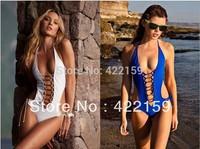 New VS Swimming Wear Blue White Sexy Bikini Suit Cut-Out Backless Monokini Brand New Bathing Wears Free Shipping