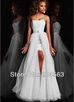 Free Shipping New Design Short Strapless Appliques Pure White Lace Wedding Dress With Detachable Skirt
