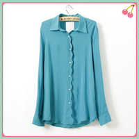 2014 spring and summer High Street women turn-down collar wave front edge blouse shirt bright color tops ladies casual wear