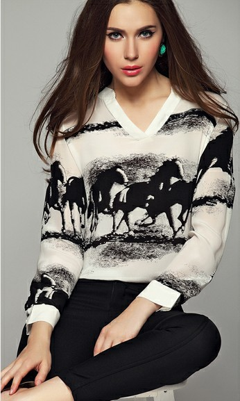 Newest 2014 Spring European&Amercian Women Wash Painting Horse Prints V-Neck Imitation Silk Blouse,Ladies Casual Shirts c302(China (Mainland))