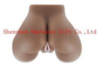 Wholesale - Black Color 100% Silicon Semi-Solid Sex Vagina Ass for Male Maturbation Men Masturbator Sex toys for men Sex Dolls