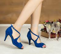 Wholesale Sexy Ladies Blue Velvet LATIN Shoes Ballroom Dance Shoes Salsa Tango Shoes Size 4,4.5,5,5.5,6,6.5,7,7.5,8,8.5,9,9.5,10