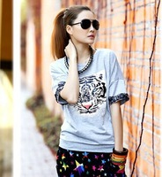 T shirt women 2014 spring Tiger print lace sweep Medium-long Plus size Loose Short-sleeve T-shirt PO-A02