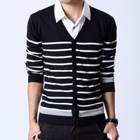 Winter male  cardigan V-neck 100% cotton casual stripe sweater