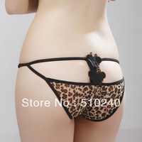 2 PCs/Lot Sexy Panties Low-waist Leopard Bowknot Ribbon Women Lingerie G-string-Free Shipping