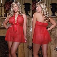 Plus size Sexy transparent red women lingerie Sleepwear Sexy Lingerie Dress+G-STRING Underwear Costume M028