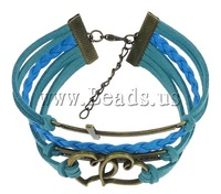 Free shipping!!!Fashion Velvet Cord Bracelets,Diy, Zinc Alloy, with PU cord & Velveteen Cord, with 2Inch extender chain