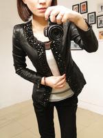 2014 spring women's diamond design slim short leather water wash PU clothing motorcycle outerwear leather jacket cardigan