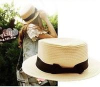 Wholesale NEW Cheap Pretty Bowknot Flat Brim Straw Cloche Ladies Sun Hat  Women Summer Hat Fedora Cap Straw Beach Hats Headwear