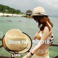 Wholesale Cap 2013 NEW Women Straw Fedora Pretty Fashion Straw Hats For Ladies Fedoras Caps Summer Beach Straw Sun Cap Headwear